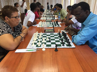 During the Senior National Qualifiers Chess tournament on Sunday players were deep in concentration.