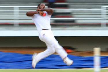 Speedster Roshon Primus sends down a delivery during his six-wicket haul on the opening day of the day/night first round game against Windward Islands Volcanoes on Friday evening. (Photo courtesy WICB Media)