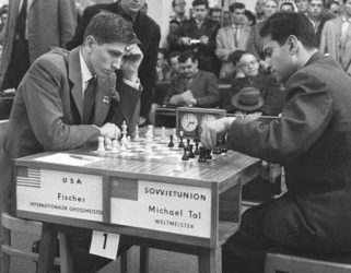 Bobby Fischer vs Mikhail Tal during one of their many encounters. They both became world chess champions - Tal in 1960 and Fischer in 1972.