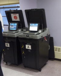 Samples of the voting machines that will be used in New York today