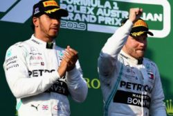 Mercedes' duo of Valtteri Bottas (right) and Lewis Hamilton finished 1-2 in the season-opening Australian Grand Prix.