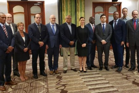 CARICOM foreign ministers and representatives of Juan Guaido's team. CARICOM Secretary-General Irwin LaRocque is at right.  (CARICOM photo)
