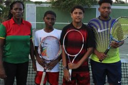 Coach Shelly Daly and the Guyanese trio who participated in the World Junior Lawn Tennis Under – 14 Tournament.
