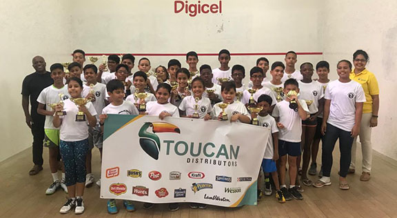 The future of Guyana's squash are all smiles after the conclusion of the Toucan Distributors Junior Skill Level Tournament.