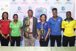 Who will win? Cricket West Indies Director, Anand Sanasie and CWI Project Officer for Women's Cricket, Josina Luke surrounded by the six territorial captains from left to right, Afy Fletcher (Windward Islands), Merissa Aguilliera (Trinidad and Tobago), Shemaine Campbelle (Guyana), Hayley Matthews (Barbados), Stafanie Taylor (Jamaica) and Shawnisha Hector (Leeward Islands) who are vying for the CWI Colonial Medical Insurance Super50 and T20 Blaze titles in Guyana