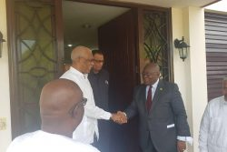 President David Granger is seen receiving President Nana Akufo-Addo (at right). (Guyana Embassy in Cuba photo)