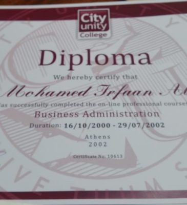 The diploma from City Unity College in Athens, Greece