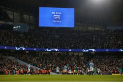 General view as an incident is reviewed on VAR on Wednesday leading to Manchester City's Raheem Sterling goal being disallowed. REUTERS/Andrew Yates