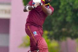 Left hander  Darren Bravo goes on the attack during his half-century yesterday. (Photo courtesy CWI Media)