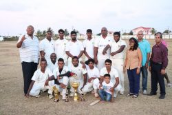 Sponsors, organisers and champions of the BCB/ Perry Gossai 100-balls West Berbice tournament (Romario Samaroo photo)