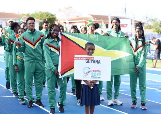 The Guyana contingent at this year's CARIFTA games.