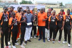 'F' Division receives their maiden Police Commissioner's Inter-Division T20 title from Police Commissioner, Leslie James (Orlando Charles photo)