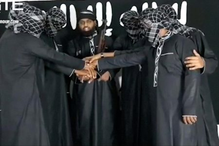 A group of men purported to be the the Sri Lanka bomb attackers is seen at an unknown location in this still image taken from video uploaded by the Islamic State's AMAQ news agency April 23, 2019 and received by Reuters via SITE Intel Group. Video uploaded April 23, 2019. AMAQ via SITE INTEL GROUP/Handout via REUTERS TV
